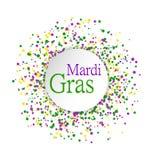 Het abstracte die patroon van Mardi Gras van gekleurde punten op witte achtergrond met gekleurd masker in cirkel in centrum wordt Stock Afbeelding
