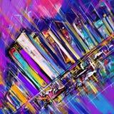 Het abstracte digitale stad schilderen Stock Foto