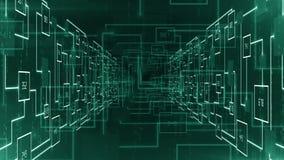 Het abstracte elektronische gezoem van de kringstunnel in achtergrondlijn stock footage