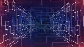 Het abstracte elektronische gezoem van de kringstunnel in achtergrondlijn stock video