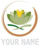Het abstracte Element van de Bloem van Lotus in Cirkel Royalty-vrije Stock Afbeeldingen