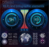 Het abstracte element van de hudinterface Virtuele ontwerpachtergrond Vector illustratie Stock Foto