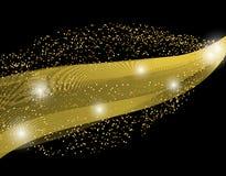 Het abstracte element van het golfontwerp van gouden kleur met schittert effect op een donkere achtergrond komeet Illustratie Stock Foto