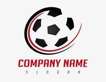 Het abstracte embleem van de voetbalbal op een witte achtergrond Stock Foto