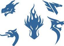 Het abstracte embleem van het draak hoofdsilhouet Stock Afbeelding