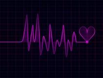 Het abstracte fuchsiakleurig hart slaat op donkere achtergrond stock illustratie