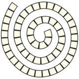 Het abstracte futuristische spiraalvormige labyrint, patroonmalplaatje voor kinderen` s spelen, regelt Zwarte die contour op witt stock illustratie