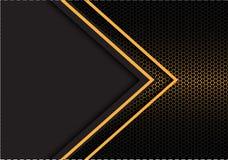 Het abstracte gele hexagon netwerk van de pijl lichte richting met donkergrijze lege ruimteontwerp moderne futuristische vector a Royalty-vrije Stock Fotografie