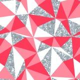 Het abstracte geometrische naadloze patroon met zilver schittert textuur Stock Foto's