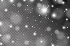 Het abstracte glanzende die wit fonkelt en flakkert effect patroon op transparante achtergrond wordt geïsoleerd Royalty-vrije Stock Foto's