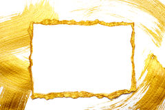 Het abstracte goud schilderde kader op een wit en verguldde achtergrond met plaats voor uw tekst royalty-vrije stock afbeelding