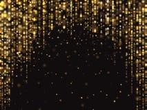 Het abstracte goud schittert lichten vectorachtergrond met dalende de Luxe rijke textuur van het fonkelingsstof stock foto