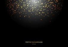 Het abstracte gouden vallen schittert lichtentextuur op een zwarte achtergrond met verlichting Magisch stofgoud en glans Feesteli royalty-vrije illustratie