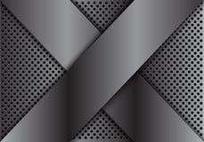 Het abstracte grijze kruis van de metaaloverlapping op van de het achtergrond ontwerp moderne luxe van het cirkelnetwerk futurist Royalty-vrije Stock Foto