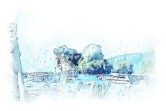 Het abstracte kleurrijke bergketen en boom de illustratie van de landschapswaterverf schilderen stock foto