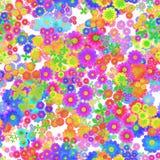 Het abstracte kleurrijke bloemenpatroon, Veelkleurige bloemen, bloeit in regenboogkleuren, Textuurachtergrond, Naadloze illustrat Royalty-vrije Stock Foto's