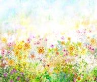 Het abstracte kleurrijke bloemenwaterverf schilderen De lente royalty-vrije illustratie