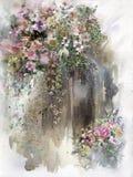 Het abstracte kleurrijke bloemenwaterverf schilderen De lente multicolored in aard royalty-vrije illustratie