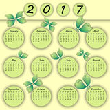 Het abstracte kleurrijke 3d document jaar van de vlinderkalender 2017 Royalty-vrije Stock Afbeelding