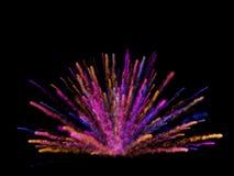 Het abstracte kleurrijke stof explodeert op zwarte achtergrond royalty-vrije stock afbeeldingen