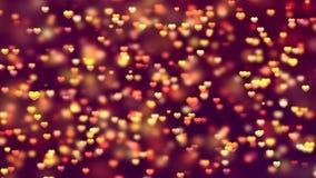 Het abstracte het knipperen gloeiende Schitterende bokeh stof van Achtergrond gouden oranje Deeltjes met het bewegen zich en tril royalty-vrije illustratie