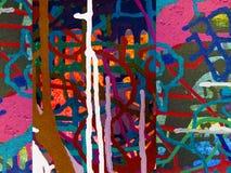 Het abstracte kunst acrylkleur schilderen op canvas van kleurrijke achtergrond stock illustratie