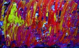 Het abstracte kunst schilderen met acrylkleuren Stock Afbeelding