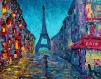 Het abstracte kunst schilderen met de straat van Parijs Royalty-vrije Stock Fotografie