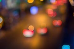 Het abstracte licht van de de stadsnacht van onduidelijk beelddefocus Royalty-vrije Stock Afbeelding