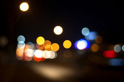Het abstracte lichte onduidelijke beeld van de Stadsnacht Royalty-vrije Stock Fotografie