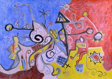 Het abstracte lucht de mening van het stadsdok acryl schilderen royalty-vrije illustratie