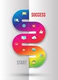 Het abstracte malplaatje van de bedrijfsinformatiegrafiek met pictogrammen stock illustratie