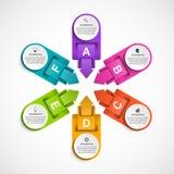 Het abstracte malplaatje van optiesinfographics met pijlen in een cirkel Infographics voor bedrijfspresentaties of informatiebann Stock Afbeeldingen