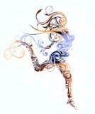 Het abstracte meisje springen Royalty-vrije Stock Afbeeldingen