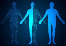 Het abstracte menselijke digitale ontwerp van het technologieconcept op hallo technologie-rug stock afbeelding