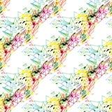 Het abstracte naadloze grunge stedelijke patroon met pijl, lijnen, graffiti, geeft geweven elementen, inkt gestalte Heldere achte Stock Afbeelding