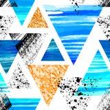Het abstracte naadloze patroon van de waterverfdriehoek Driehoeken met of Stock Afbeelding