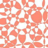 Het abstracte naadloze vectorpatroon van koraal snijdende cirkels Moderne elegante roze overlappende cirkels als achtergrond op w royalty-vrije illustratie