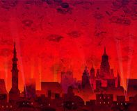 Het abstracte Nachtstad Schilderen Royalty-vrije Stock Afbeeldingen