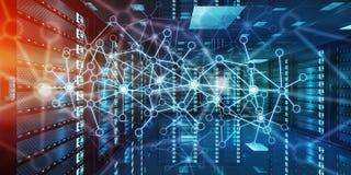 Het abstracte netwerk op de gegevens van de serverruimte centreert het 3D teruggeven Royalty-vrije Stock Fotografie