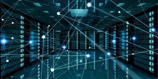 Het abstracte netwerk op de gegevens van de serverruimte centreert het 3D teruggeven Stock Afbeelding