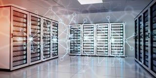 Het abstracte netwerk op de gegevens van de serverruimte centreert het 3D teruggeven Stock Foto's
