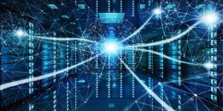 Het abstracte netwerk op de gegevens van de serverruimte centreert het 3D teruggeven Royalty-vrije Stock Afbeelding