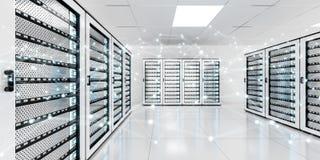 Het abstracte netwerk op de gegevens van de serverruimte centreert het 3D teruggeven Stock Fotografie