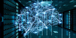 Het abstracte netwerk op de gegevens van de serverruimte centreert het 3D teruggeven Royalty-vrije Stock Afbeeldingen