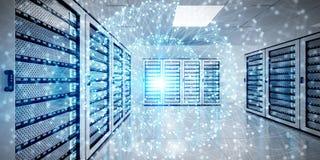 Het abstracte netwerk op de gegevens van de serverruimte centreert het 3D teruggeven Stock Afbeeldingen