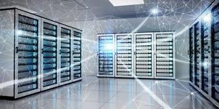 Het abstracte netwerk op de gegevens van de serverruimte centreert het 3D teruggeven Stock Foto