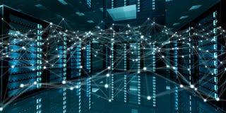 Het abstracte netwerk op de gegevens van de serverruimte centreert het 3D teruggeven Royalty-vrije Stock Foto's