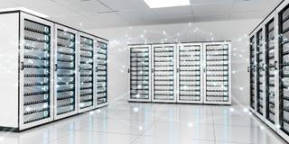 Het abstracte netwerk op de gegevens van de serverruimte centreert het 3D teruggeven Royalty-vrije Stock Foto