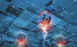 Het abstracte netwerk van conceptenblockchain Fintechtechnologie Globale bescherming en gegevenstransmissie royalty-vrije illustratie